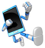 3D Smart Phone Mascot to be powerful whip kicks. 3D Mobile Phone Royalty Free Stock Photos