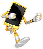 3D Smart Phone Mascot to be powerful whip kicks. 3D Mobile Phone Royalty Free Stock Image