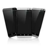 3d smart phones. On white background Royalty Free Stock Image
