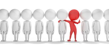 3d smart red man is different from the others vector illustration