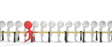 3d smart red man jumps the queue. 3d smart red man jumps a queue of white people Royalty Free Stock Photos