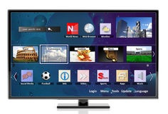 3D smart tv with icons Stock Images