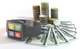 3d smart watch about money with 100 dollar bill. 3 Dimensional Graphics rendering about financial, wealth, business, community, communication, network by smart Stock Image