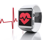 3d smart watch with red health icon. Stock Photography