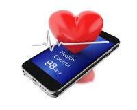 3d Smartphone avec des battements de coeur Photo libre de droits
