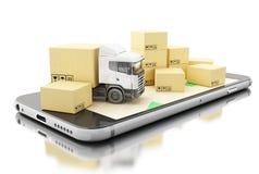 3D Smartphone avec des boîtes en carton Concept d'expédition de la livraison Image libre de droits
