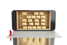 3D Smartphone avec des boîtes en carton Concept d'expédition de la livraison Photographie stock libre de droits