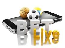 3d Smartphone avec des boules de sport et pari vivant Pari du concept Images stock