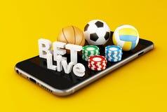 3d Smartphone avec des boules, des puces et le pari de sport vivants Images stock