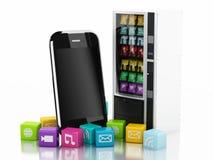 3d Smartphone avec des icônes d'application Concept de commerce électronique Images libres de droits