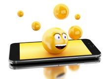 3d Smartphone avec des icônes d'Emoji Images libres de droits