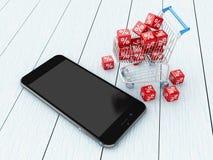 3D Smartphone avec des icônes de caddie et de remise Image stock