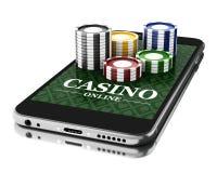 3d Smartphone avec des pièces de monnaie Concept en ligne de casino Photo libre de droits