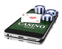 3d Smartphone avec des pièces de monnaie et des cartes de tisonnier Concept en ligne de casino Photos stock