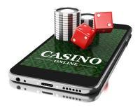 3d Smartphone avec des pièces de monnaie et des matrices Concept en ligne de casino Images libres de droits