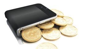 3d Smartphone avec l'argent liquide de Bitcoin Photos libres de droits