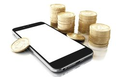 3d Smartphone avec l'argent liquide de Bitcoin Image libre de droits