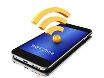 3d Smartphone avec l'icône de wifi Images libres de droits