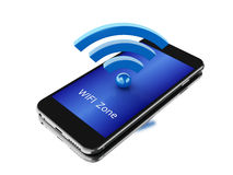 3d Smartphone avec l'icône de wifi Photographie stock