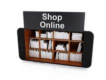 3d Smartphone avec la librairie Image stock