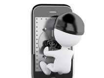 3d Smartphone avec la porte sûre Concept mobile de sécurité Photographie stock libre de droits