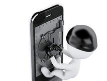 3d Smartphone avec la porte sûre Concept mobile de sécurité Photos stock