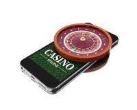 3d Smartphone avec la roulette Concept en ligne de casino Images libres de droits
