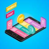 3D Smartphone avec la voiture de livraison isométrique Achats en ligne, la livraison, concept de commerce électronique Illustrati Image libre de droits