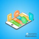 3D Smartphone avec le discours coloré bouillonne dans la projection isométrique Causerie mobile Illustration isométrique de vecte Photographie stock