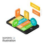 3D Smartphone avec le discours coloré bouillonne sur un fond blanc Causerie mobile Illustration isométrique de vecteur Images libres de droits