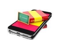 3d Smartphone avec le livre de l'Espagne Étude des langues Photo libre de droits
