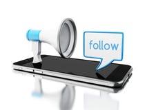 3d Smartphone avec le mégaphone et le discours de bulle avec Image libre de droits
