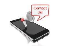 3d Smartphone avec le mégaphone et le discours de bulle avec Images stock