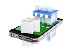 3d Smartphone avec le magasin Image libre de droits