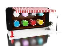3d Smartphone avec le magasin Photographie stock
