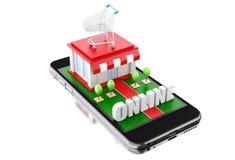 3d Smartphone avec le magasin Photo libre de droits