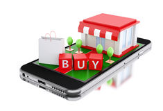 3d Smartphone avec le magasin Images libres de droits
