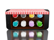3d Smartphone avec le magasin Images stock