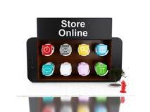 3d Smartphone avec le magasin d'APP Photographie stock