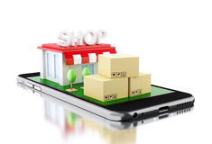 3d Smartphone avec le magasin et les boîtes Photos libres de droits