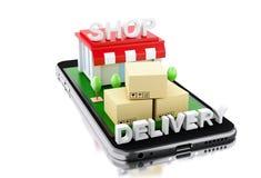 3d Smartphone avec le magasin et les boîtes Photos stock