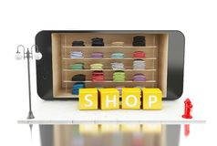 3d Smartphone avec le magasin d'habillement Commerce électronique Photo stock