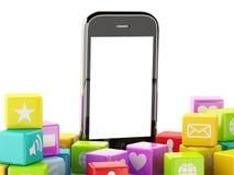 3d Smartphone avec le nuage des icônes d'application Images libres de droits