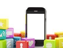 3d Smartphone avec le nuage des icônes d'application Photo stock