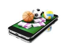 3d Smartphone avec les boules et l'argent de sport Image stock