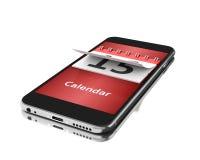 3d Smartphone avec un calendrier blanc au moment de l'exécution d'isolement par concept de fond illustration libre de droits