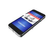 3d Smartphone avec un calendrier et un numéro quatorze Photographie stock