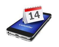 3d Smartphone avec un calendrier et un numéro quatorze Photographie stock libre de droits
