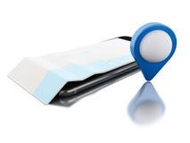 3d Smartphone avec une carte et un indicateur bleu de carte Photo libre de droits