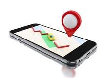 3d Smartphone avec une carte et un indicateur rouge Images libres de droits